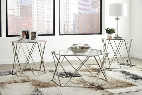 Madanere Chrome 3-in-1 Table Set