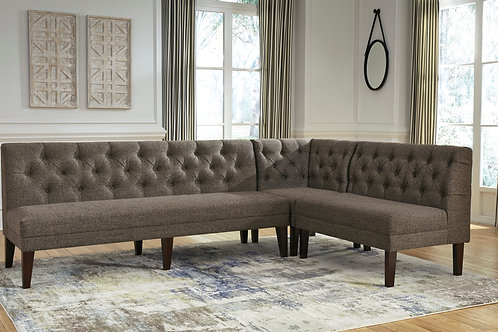 Tripton Graphite Upholstered 3-PC Bench Set