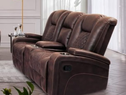 Cowboy Reclining Loveseat with Storage Console