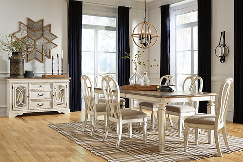 Realyn Extension Table & 6 Rounded Back Chairs