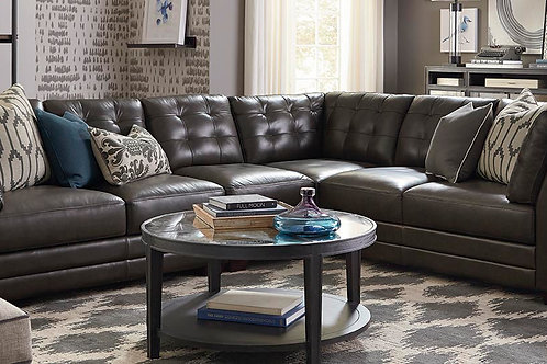 Bassett Leather Affinity L-Shape Sectional