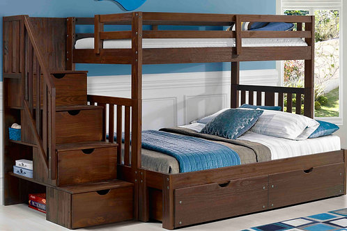 Cambridge Chestnut Twin/Full Staircase Bunk Bed