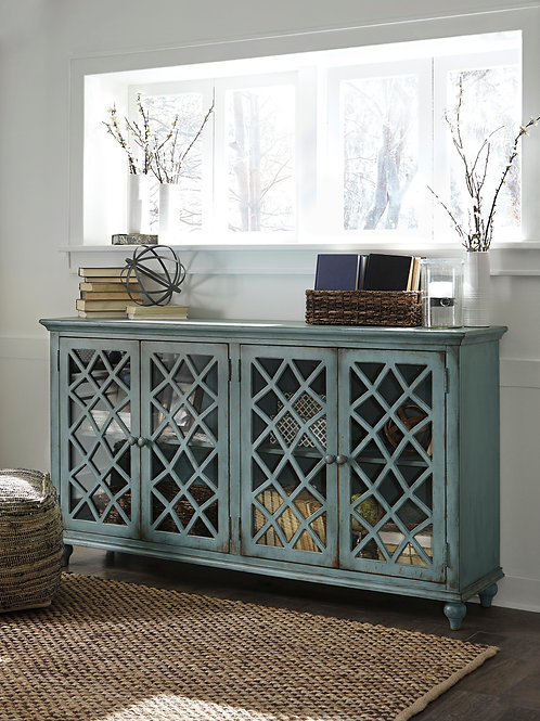 Mirimyn Distressed Antique Teal Accent Cabinet