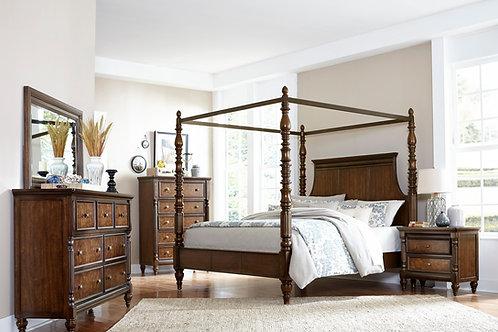 Verlyn Cherry Canopy Bedroom Set