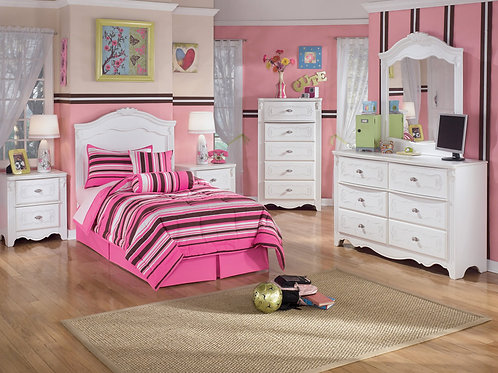 Exquisite White Panel Twin Bedroom Set