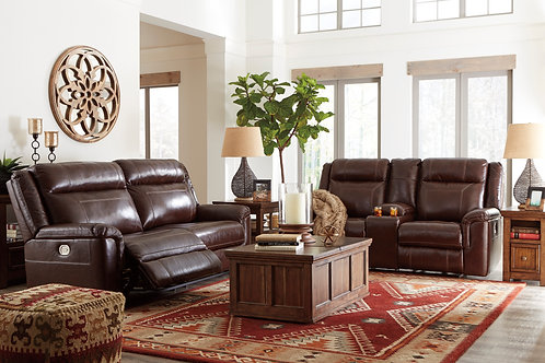Wyline Coffee Leather Power Sofa & Loveseat