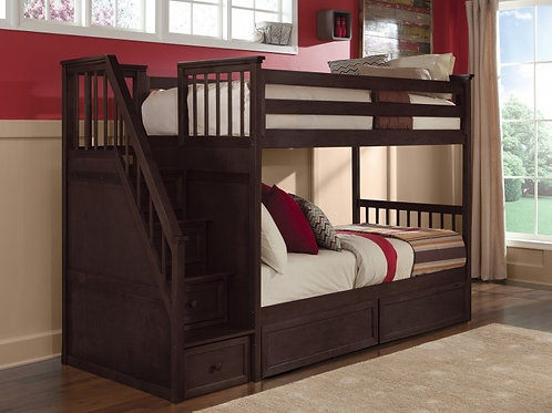 Schoolhouse Chocolate T/T Staircase Bunk Bed