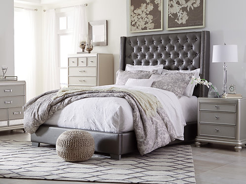 Coralayne Gray Upholstered Mansion Style Bed
