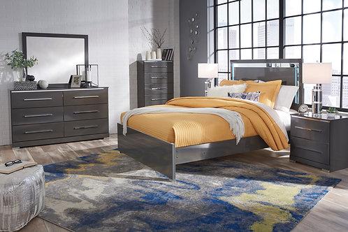 Steelson Gray Full or Queen LED Platform Bedroom Set