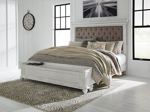 Kanwyn Vintage White Upholstered Storage Bed