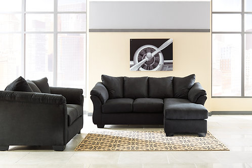 Darcy Black Sofa Chaise & Loveseat