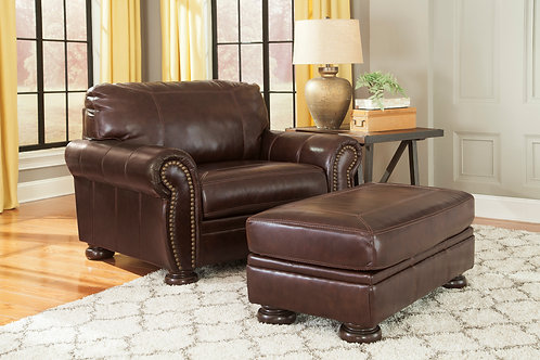 Banner Coffee Leather Chair & Half