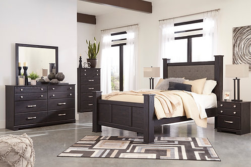 Reylow Dark Brown Upholstered Poster Bedroom Set