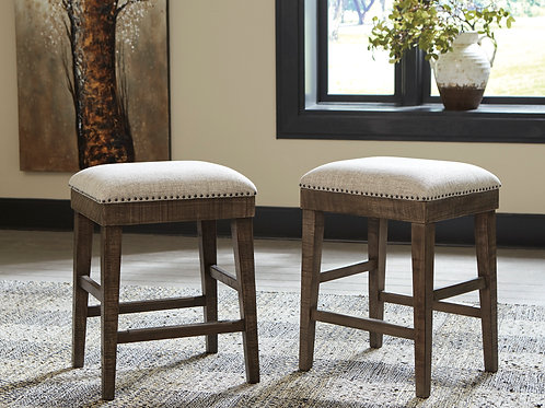 Wyndahl Rustic Brown Upholstered Backless Stools