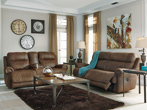 Austere Canyon Wide-Seat Reclining Sofa & Loveseat w/Console
