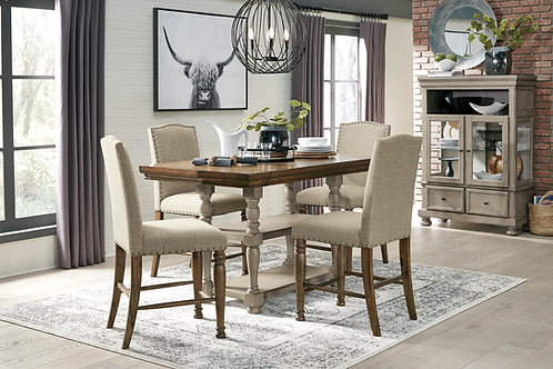 Lettner Two-Tone Counter Extension Table & 4 Barstools