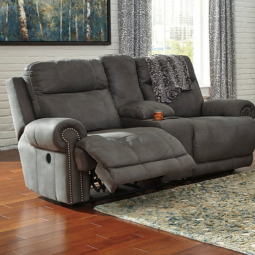 Austere Slate Reclining Loveseat with Console