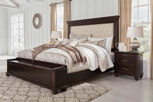 Brynhurst Walnut Queen Upholstered Storage Bed