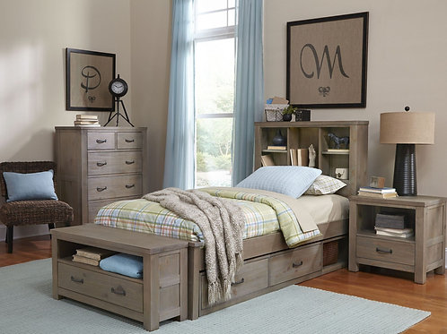 Highlands Twin Driftwood Bookcase Bed
