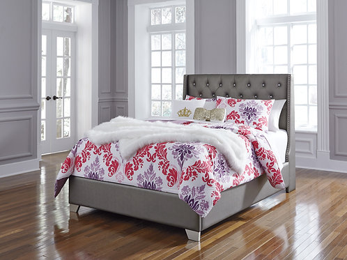 Coralayne Gray Full Upholstered Bed