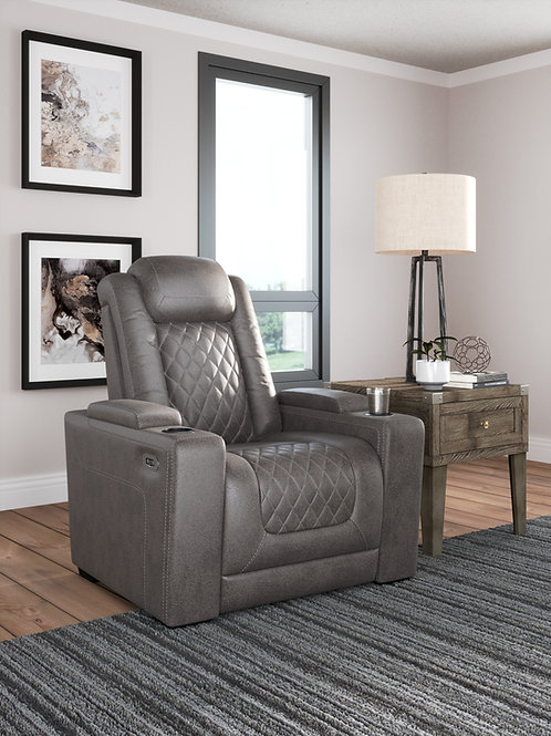 HyllMont Gray Power Recliner