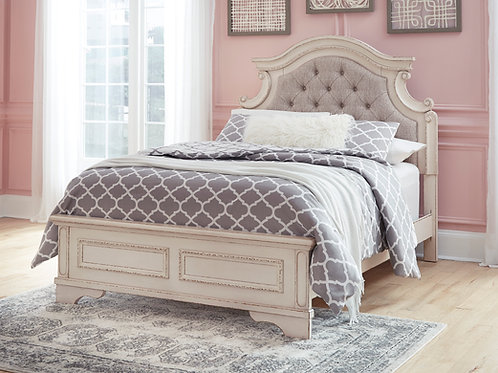 Realyn Antique White Upholstered Youth Bed