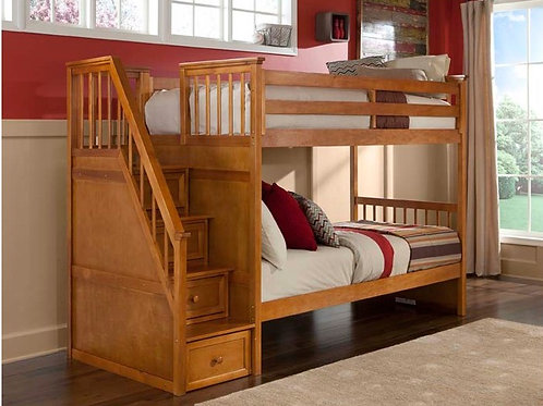 Schoolhouse Pecan Staircase T/T Bunk Bed
