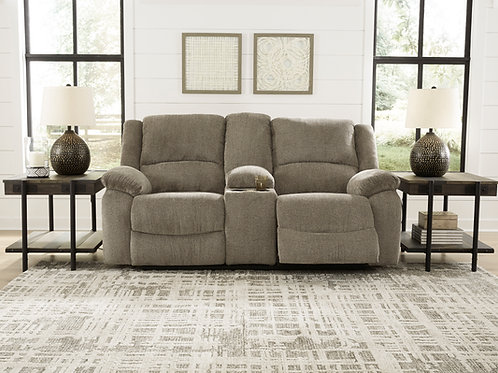 Draycoll Pewter Reclining Loveseat w/ Console