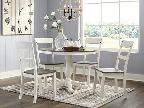 Nelling Two-Tone Round Table & 4 Chairs