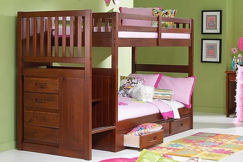 Mission Merlot T/T Staircase Bunk Bed