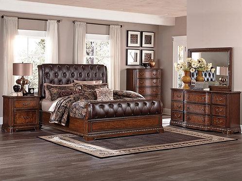 Brompton Lane Upholstered Tufted Sleigh Set