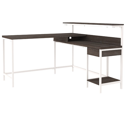 Dorrinson Two-Tone L-Desk with Storage