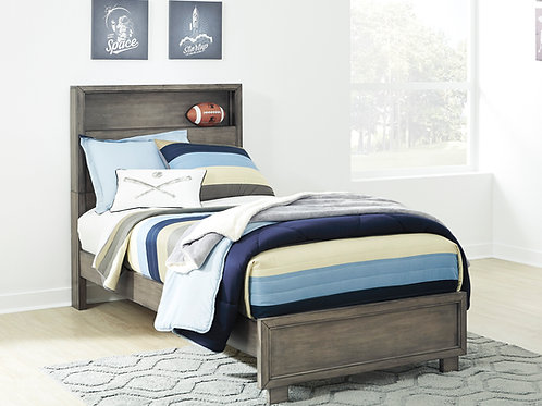 Arnett Gray Twin Bookcase Bed