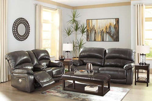 Hallstrung Gray Top Grain Leather Power Reclining Sofa OR Loveseat
