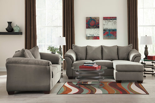 Darcy Cobblestone Sofa Chaise & Loveseat