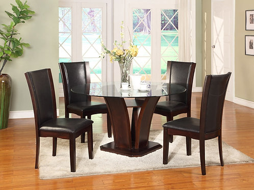 Camelia Espresso Dining Table & 4 Chairs