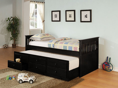 Coaster Black Daybed w/Trundle & Drawers