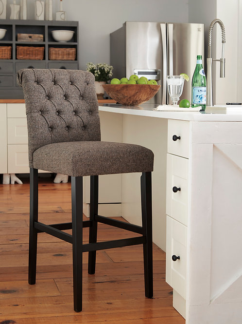 Tripton Graphite Tall Upholstered Barstools