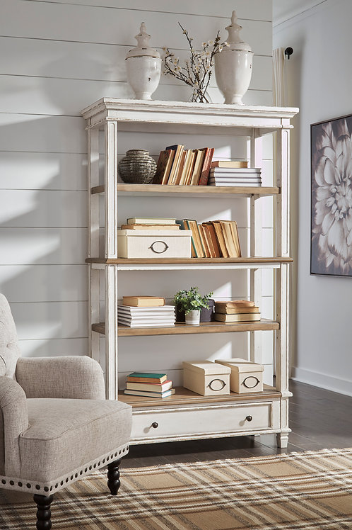 Realyn Antique White Bookcase