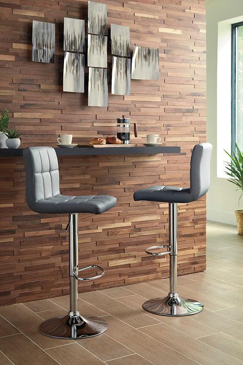 Bellatier Gray Tall Upholstered Swivel Barstools