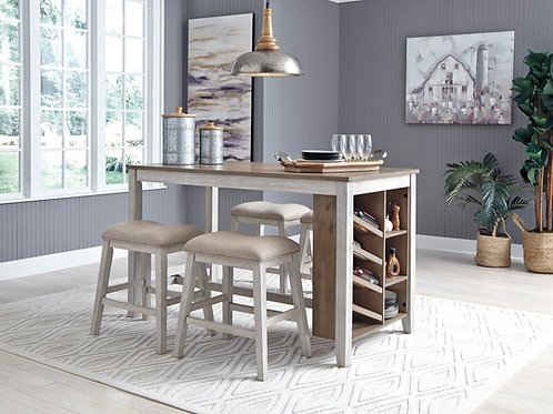 Skempton Two-Tone Counter Table & 4 Stools