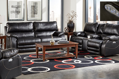 Sheridan Black Reclining Valentino Bonded Leather