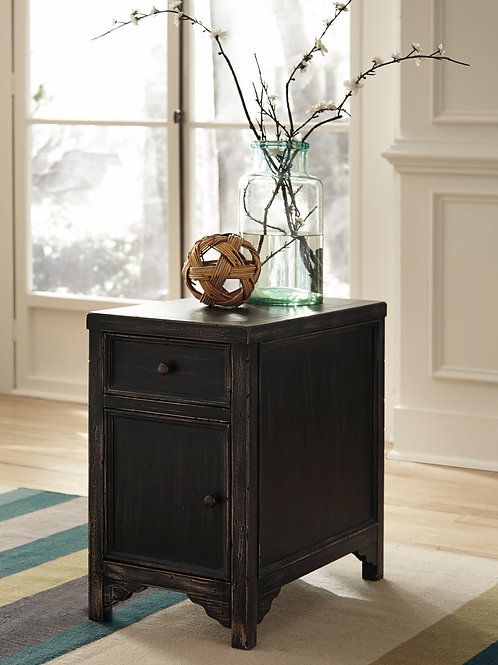 Gavelston Rustic Black Chair Side End Table