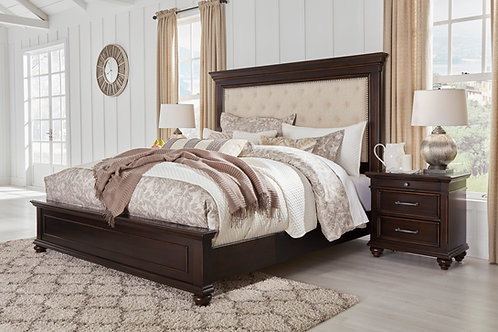 Brynhurst Walnut Queen Upholstered Panel Bed