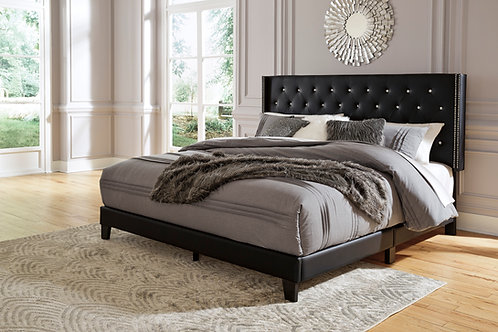 Vintasso Black Upholstered Queen Bed