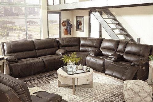 Ricmen Walnut Leather Power Reclining 3-PC Sectional