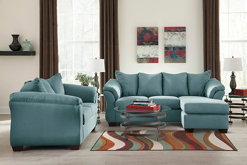 Darcy Sky Sofa Chaise & Loveseat