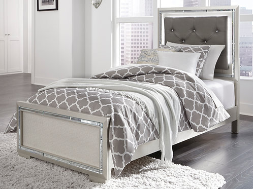 Lonnix Gray Upholstered Twin Bed