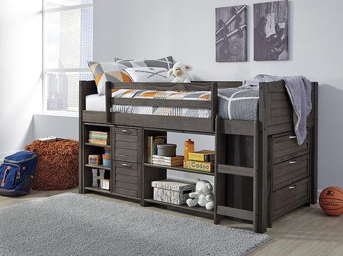 Caitbrook Gray Twin Loft Storage Bed
