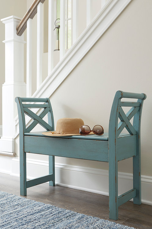Heron Ridge Antique Blue Storage Bench